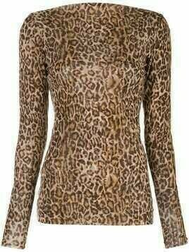 Peter Cohen leopard print fitted top - Brown