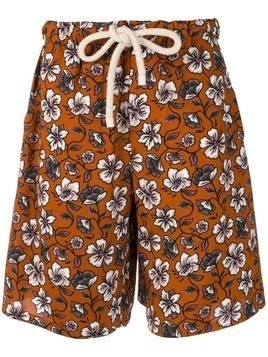 Loewe Hawaiian pattern swim shorts - Brown