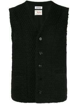 Coohem shadow herringbone tweed vest - Black