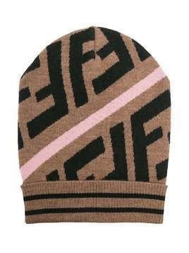 Fendi Kids FF motif intarsia-knit hat - Brown