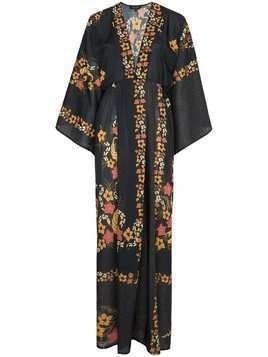 Celia Dragouni Floral print kimono sleeve maxi dress - Black