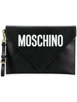 Moschino leather envelope clutch - Black