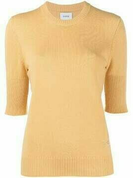 Barrie short-sleeve cashmere knitted top - ORANGE