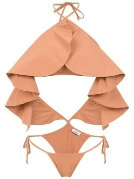 Amir Slama ruffled swimsuit - Neutrals