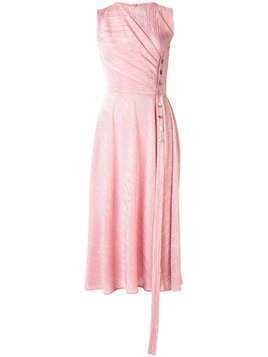 Dalood side-button plisse dress - PINK