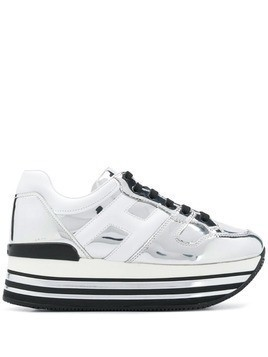 Hogan metallic leather sneakers - White