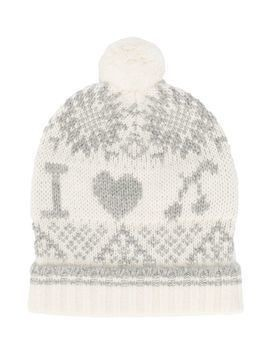 Bonpoint print knitted hat with pom pom - White