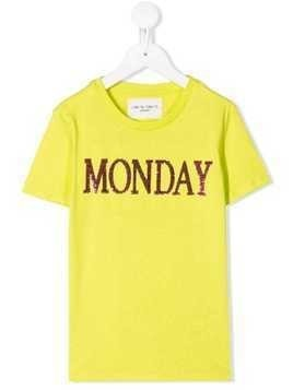 Alberta Ferretti Kids Monday slogan T-shirt - Yellow