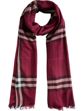 Burberry Lightweight Check Wool and Silk Scarf - Pink & Purple