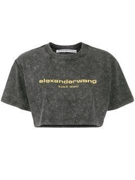 Alexander Wang logo embroidered cropped T-shirt - Black