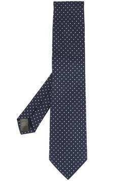 Gieves & Hawkes polka-dot embroidered tie - Blue