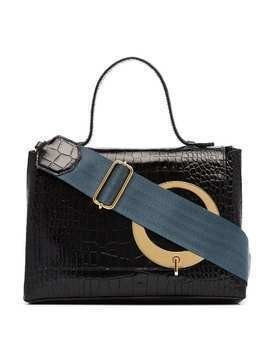 Trademark Black and Blue Harriet Leather Shoulder Bag