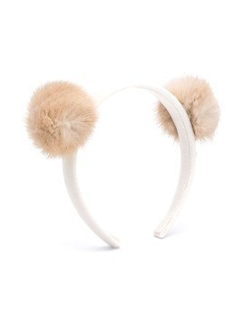 Monnalisa pompom hair band - NEUTRALS