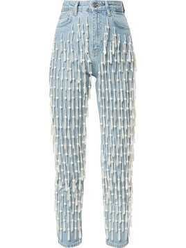 Dalood all-over pearl-bead high-rise jeans - Blue