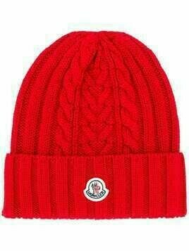 Moncler logo patch knitted beanie - Red