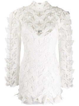 David Koma butterfly lace dress - White