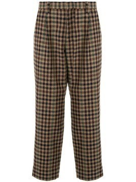 Kolor checked wool blend trousers - Brown
