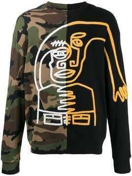 Haculla split camo sweatshirt - Black