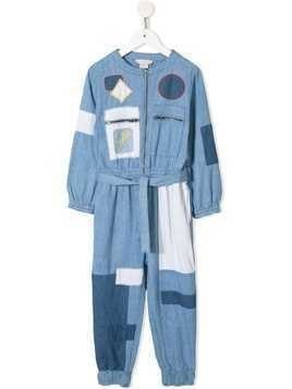 Stella McCartney Kids patchwork denim jumpsuit - Blue
