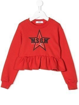 Msgm Kids logo ruffle trim sweatshirt - Red