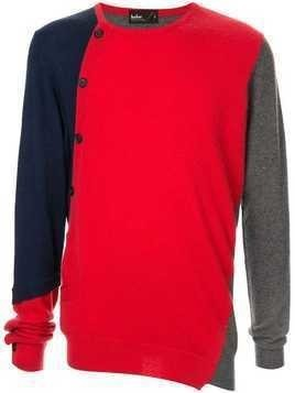 Kolor colour-block fitted sweater - Red