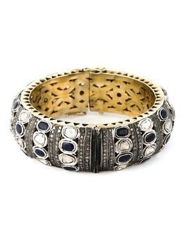Gemco 14kt gold diamond embellished bangle - Metallic