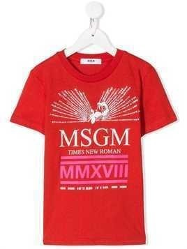 Msgm Kids rhinestone embellished T-shirt - Red