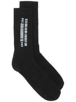 Blood Brother embroidered barcode socks - Black