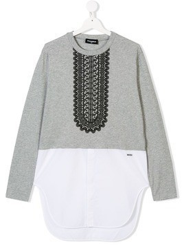 Dsquared2 Kids printed bib two in one top - Grey