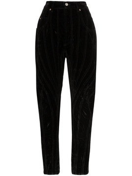 Mugler velvet high-waisted denim trousers - Black