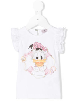 Monnalisa Daisy Duck diamante top - White