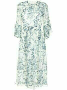 Erdem paisley-print voile flared dress - White