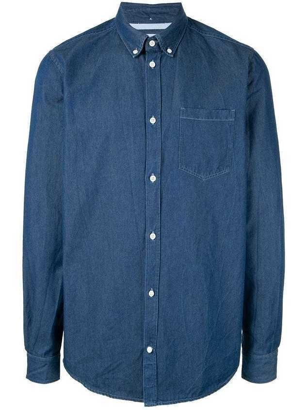 Norse Projects sunwashed denim shirt - Blue