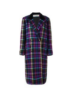 Christian Dior Vintage checked long coat - Multicolour