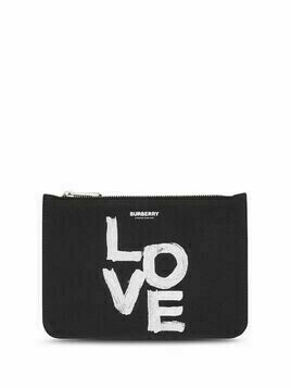 Burberry love-print zipped pouch - Black