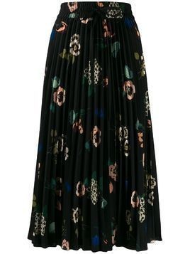 Red Valentino floral-print pleated skirt - Black