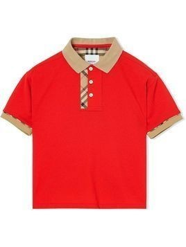 Burberry Kids Vintage Check Trim Cotton Polo Shirt - Red