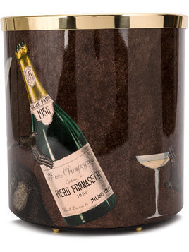 Fornasetti graphic print wine bucket - Brown