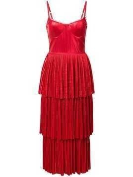 Marchesa Notte pleate midi dress - Red