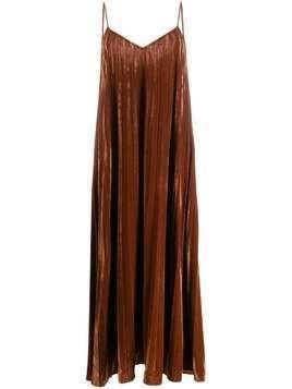 Mes Demoiselles pleated velvet maxi dress - Brown