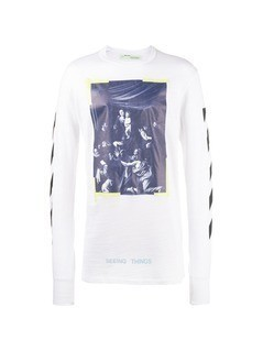 Off-White Caravaggio diagonal stripe Long sleeved tee
