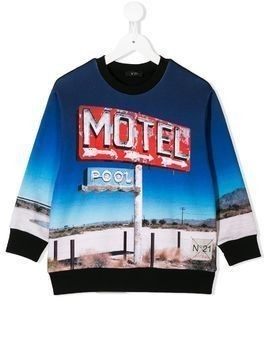 Nº21 Kids motel graphic sweatshirt - Blue
