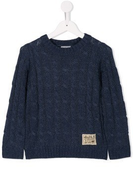 Miki House cable knit sweater - Blue