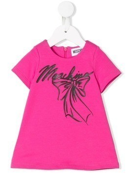 Moschino Kids bow and logo print dress - Pink