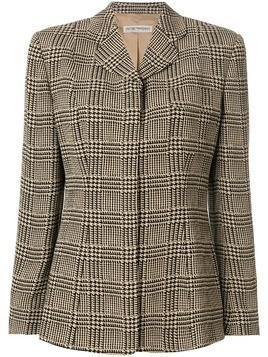 Giorgio Armani Pre-Owned hounstooth check slim blazer - Brown