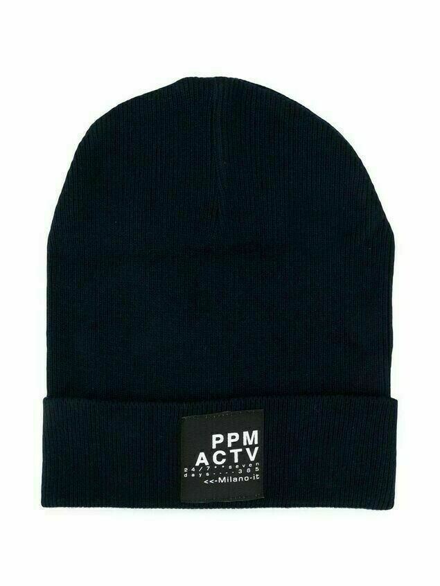 Paolo Pecora Kids TEEN ribbed logo-patch beanie hat - Blue