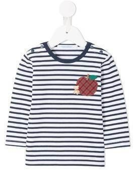 Familiar apple patch striped T-shirt - White