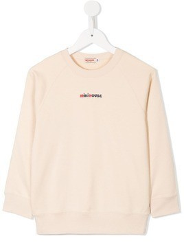 Miki House embroidered logo jumper - Neutrals