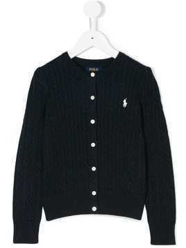 Ralph Lauren Kids knitted logo embroidered cardigan - Blue