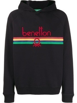 Benetton logo embroidered hoodie - Black